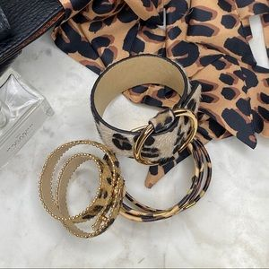 Jewelry - 4pc Leopard Print Bracelet + Twilly Scarf Set
